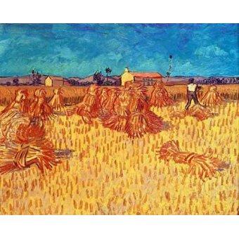 quadros de paisagens - Quadro -Campo de cereales con gravillas- - Van Gogh, Vincent