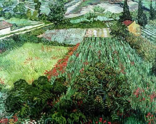 quadros-de-paisagens - Quadro -Field with poppies, 1889- - Van Gogh, Vincent