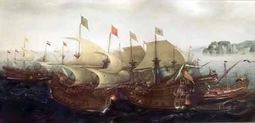 quadros-de-paisagens-marinhas - Quadro -Batalla Naval- - Vroom, Hendrick