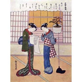 quadros étnicos e orientais - Quadro -Misiva- - _Anónimo Japones