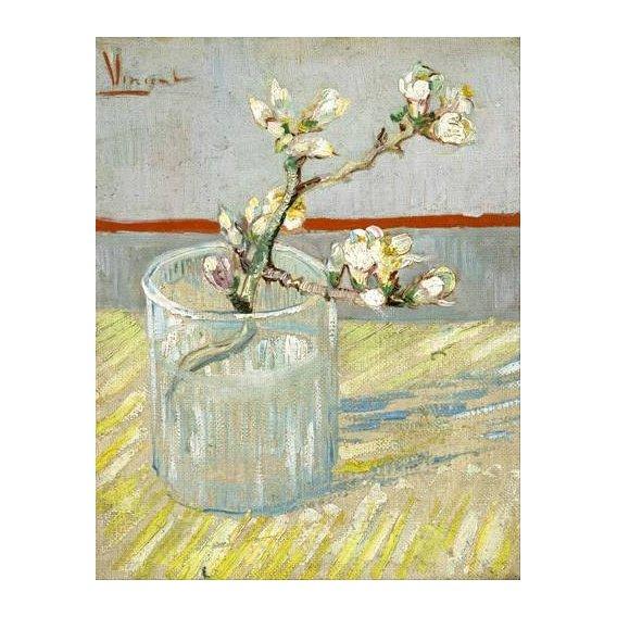 quadros decorativos - Quadro -Rama de almendro en flor, en vaso de cristal -