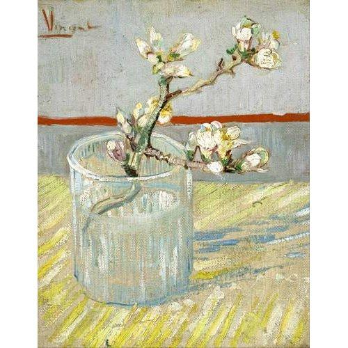 Cuadro -Rama de almendro en flor, en vaso de cristal -