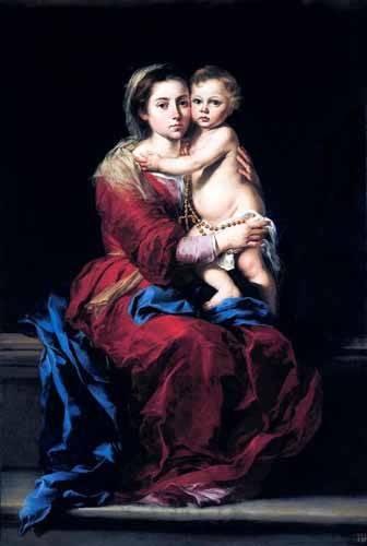 religious paintings - Picture -La Virgen del Rosario- - Murillo, Bartolome Esteban