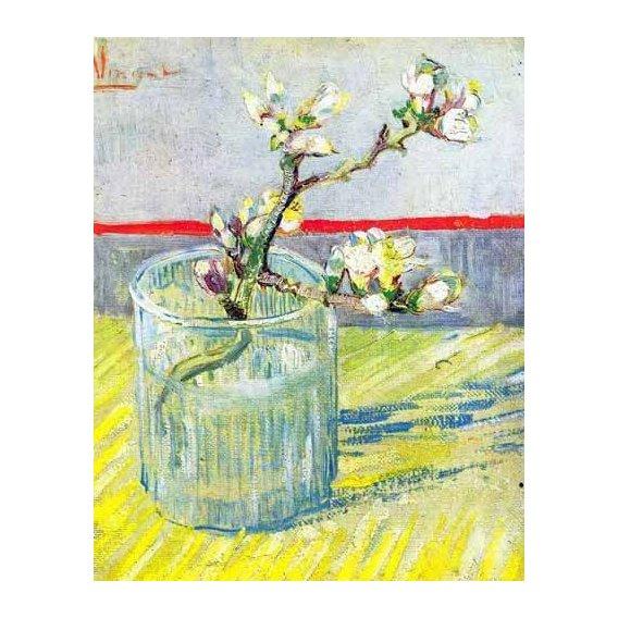 imagens de flores - Quadro -Rama de almendro en flor, en vaso de cristal-