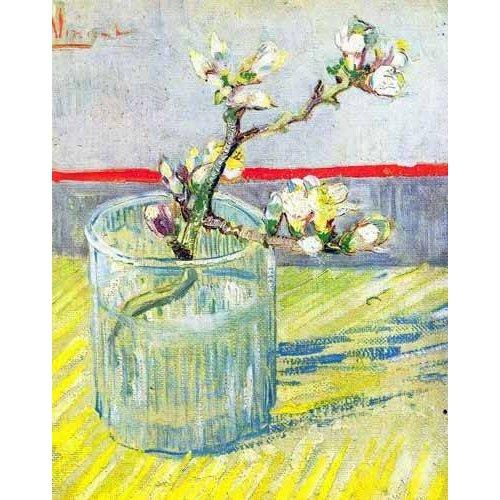 Quadro -Rama de almendro en flor, en vaso de cristal-