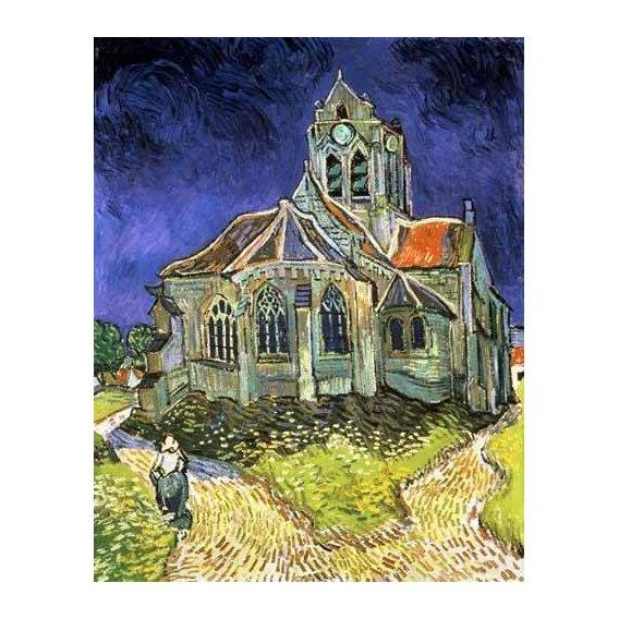 pinturas de paisagens - Quadro -La iglesia de Auvers-sur-Oise-