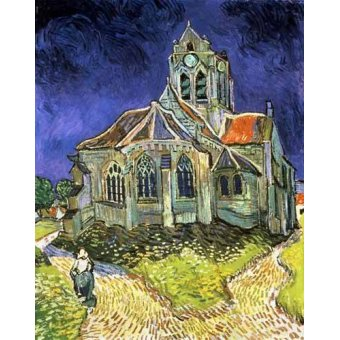 quadros de paisagens - Quadro -La iglesia de Auvers-sur-Oise- - Van Gogh, Vincent