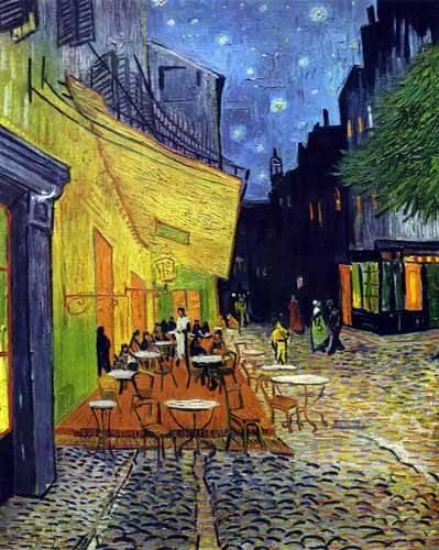 quadros-de-paisagens - Quadro - O Terraço do Café na Place du Forum, Arles, à Noite - - Van Gogh, Vincent