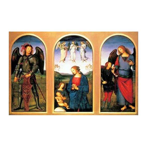 religious paintings - Picture -La Virgen y el Niño con los arcángeles Miguel y Rafael-