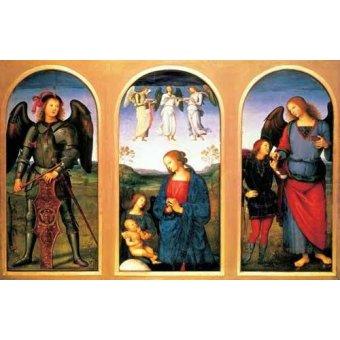 quadros religiosos - Quadro -La Virgen y el Niño con los arcángeles Miguel y Rafael- - Perugino, Pietro Vannucci