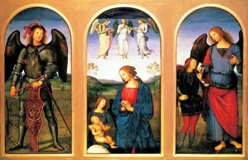 religious paintings - Picture -La Virgen y el Niño con los arcángeles Miguel y Rafael- - Perugino, Pietro Vannucci