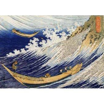 quadros étnicos e orientais - Quadro -Olas en el oceano- - Hokusai, Katsushika