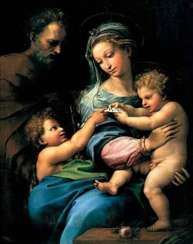 religious paintings - Picture -La Virgen de la Rosa- - Rafael, Sanzio da Urbino Raffael
