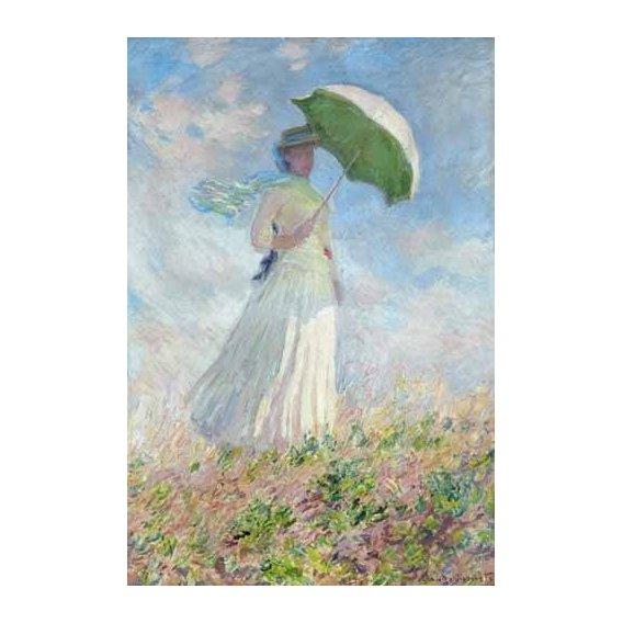 pinturas do retrato - Quadro -Estudio de figura al aire libre, mujer con sombrero-