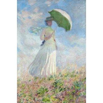 pinturas de retratos - Quadro -Estudio de figura al aire libre, mujer con sombrero- - Monet, Claude