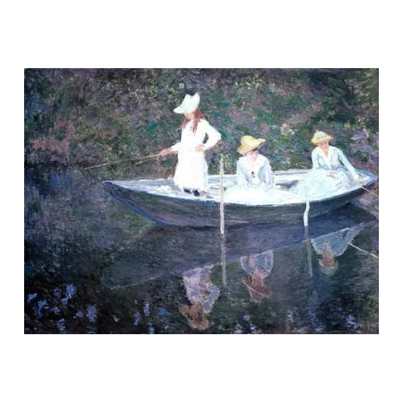 pinturas do retrato - Quadro -In The Norvegienne Boat At Giverny 1887-
