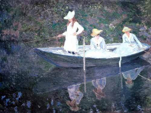 pinturas-de-retratos - Quadro -In The Norvegienne Boat At Giverny 1887- - Monet, Claude