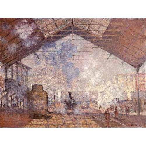 pinturas de paisagens - Quadro -La estacion de Saint Lazare, 1877-