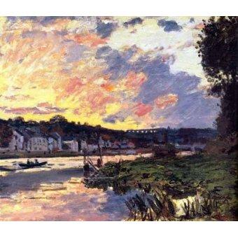 - Quadro -El Sena en Bougival, en la tarde- - Monet, Claude