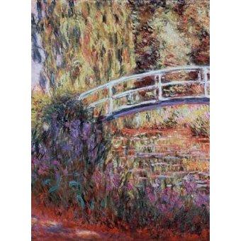 - Quadro -El puente japones, estanque de nenúfares y lirios- - Monet, Claude