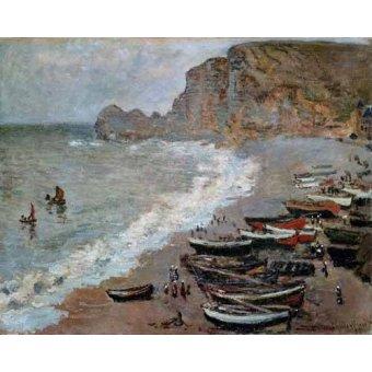 quadros de paisagens marinhas - Quadro -La playa y acantilados de Amont en Etretat, 1883- - Monet, Claude