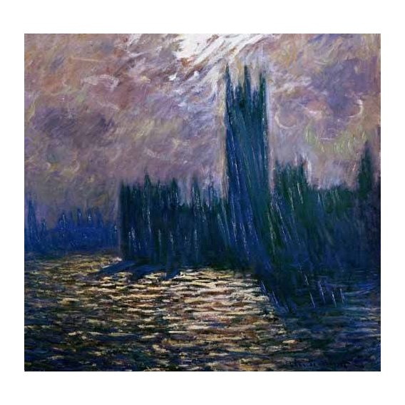 pinturas de paisagens - Quadro -London Parliament, effects on the Thames, 1905-