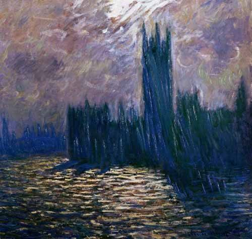 quadros-de-paisagens - Quadro -London Parliament, effects on the Thames, 1905- - Monet, Claude