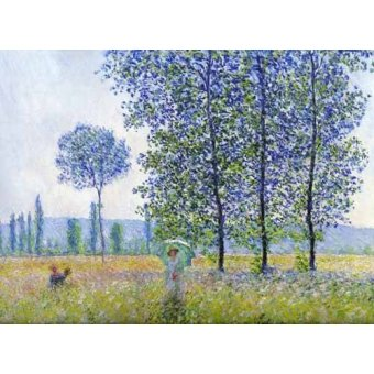 - Quadro -Sunlight effect poplars Sun, 1887- - Monet, Claude