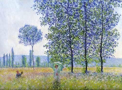 quadros-de-paisagens - Quadro -Sunlight effect poplars Sun, 1887- - Monet, Claude