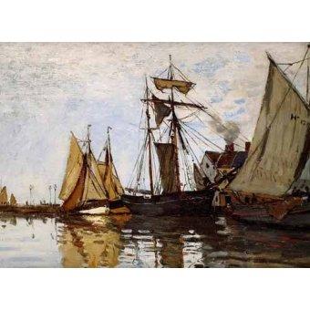 quadros de paisagens marinhas - Quadro -Pont of Honfleur Sun- - Monet, Claude