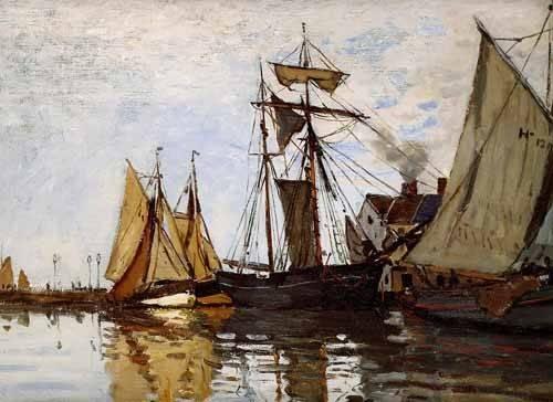 quadros-de-paisagens-marinhas - Quadro -Pont of Honfleur Sun- - Monet, Claude
