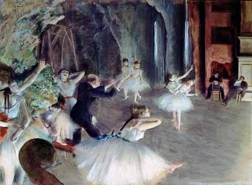 pinturas-de-retratos - Quadro -The rehearsal of the ballet on stage- - Degas, Edgar