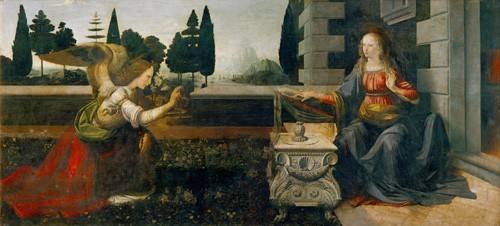 quadros-religiosos - Quadro -La Anunciación (Leonardo)- - Vinci, Leonardo da
