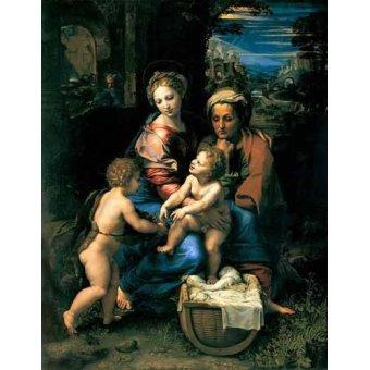 quadros religiosos - Quadro -La Sagrada Familia de la Perla- - Rafael, Sanzio da Urbino Raffael