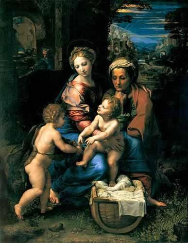 religious paintings - Picture -La Sagrada Familia de la Perla- - Rafael, Sanzio da Urbino Raffael