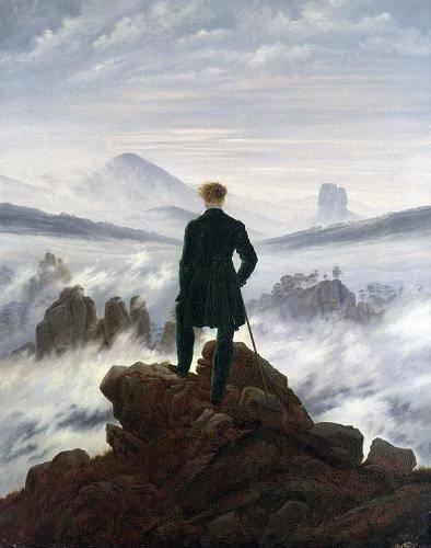 quadros-de-paisagens - Quadro -The Wanderer above the Sea of Fog, 1818- - Friedrich, Caspar David