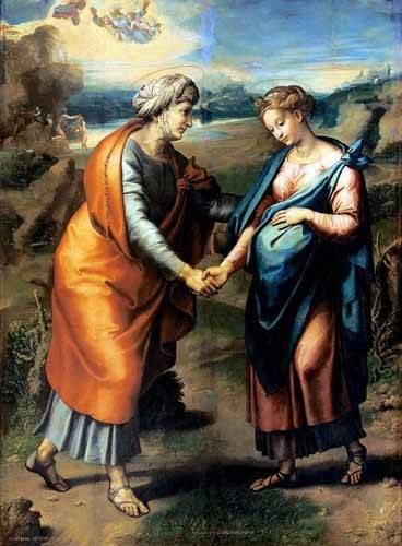 religious paintings - Picture -La Visitación- - Rafael, Sanzio da Urbino Raffael