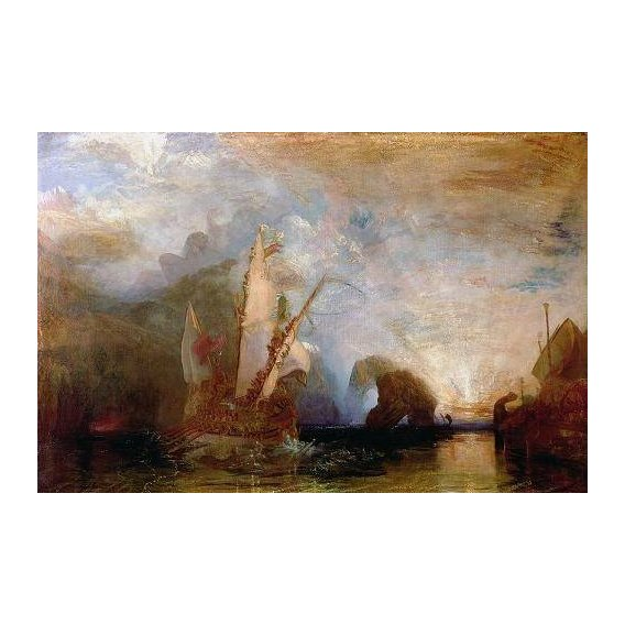 pinturas de paisagens marinhas - Quadro -Ulisses Deriding Polyphemus, 1829-
