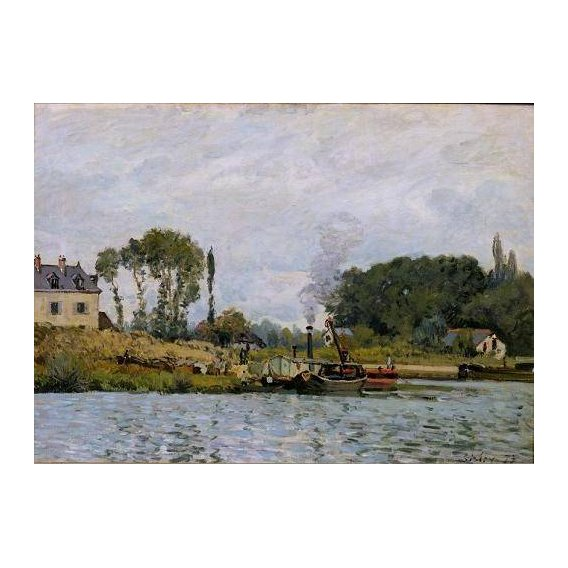 pinturas de paisagens marinhas - Quadro -Boats at the lock at Bougival, 1873-