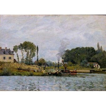 - Quadro -Boats at the lock at Bougival, 1873- - Sisley, Alfred