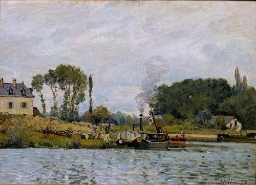 quadros-de-paisagens-marinhas - Quadro -Boats at the lock at Bougival, 1873- - Sisley, Alfred
