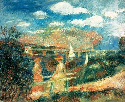 quadros-de-paisagens-marinhas - Quadro -The Banks of the Seine at Argenteuil, 1880- - Renoir, Pierre Auguste