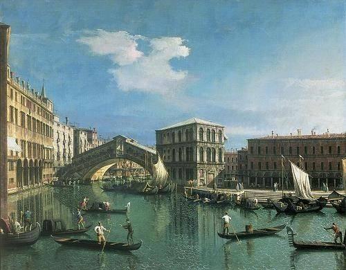 quadros-de-paisagens-marinhas - Quadro -The Rialto Bridge, Venice- - Canaletto, Giovanni A. Canal
