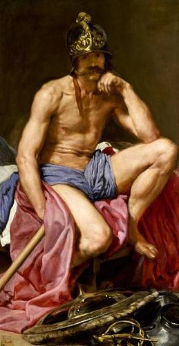 pinturas-de-retratos - Quadro -El dios Marte- - Velazquez, Diego de Silva