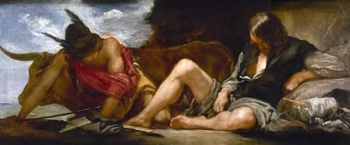 pinturas-de-retratos - Quadro -Mercurio y Argos- - Velazquez, Diego de Silva