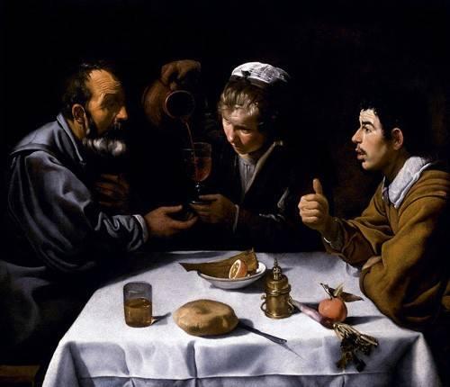 pinturas-de-retratos - Quadro -El almuerzo- - Velazquez, Diego de Silva
