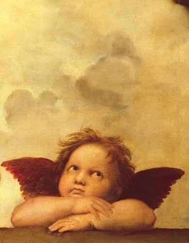 quadros-religiosos - Quadro -Los dos angeles (detalle angel dcha).- - Rafael, Sanzio da Urbino Raffael