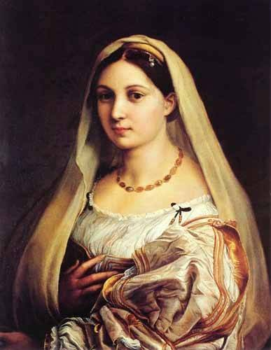 pinturas-de-retratos - Quadro -Mujer con velo- - Rafael, Sanzio da Urbino Raffael