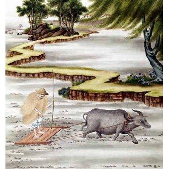quadros étnicos e orientais - Quadro -Campesino labrando el arrozal- - _Anónimo Chino