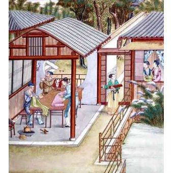 cuadros etnicos y oriente - Cuadro -Despacho de un comerciante de telas- - _Anónimo Chino